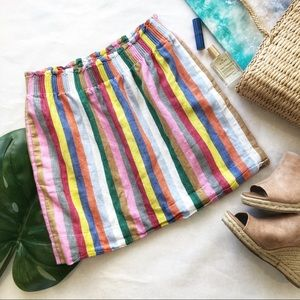J. Crew Factory Striped Linen Mini Skirt Size 4